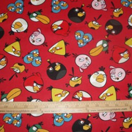 Cotton Fabric Licensed Angry Birds scattered on red