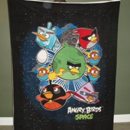 Fleece Blanket Panel Licensed ANGRY BIRDS SPACE on black