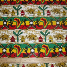 Cotton Fabric African Village Stripe