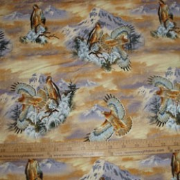 Cotton Fabric Larry Flanning Studios Red Tailed Hawks