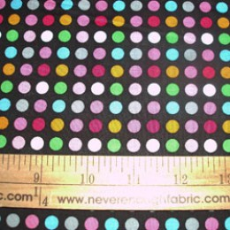 Cotton Fabric Bright Dots on black