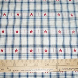 Cotton Blend WOVEN stars on plaid  red, white and blue