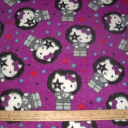 Fleece Hello Kitty as a KISS Rock Star on Purple