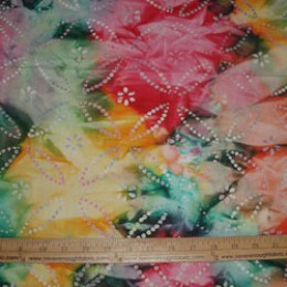 Batik Bright yellow orange green and pink