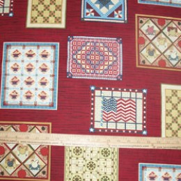 Robert Kaufman YESTERYEAR Country Quilts on Brick Red