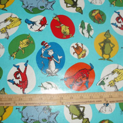 Robert Kaufman Dr Seuss Characters on blue LAMINATED