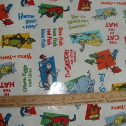Robert Kaufman Dr Seuss Characters on White LAMINATED