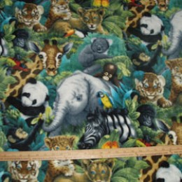 Fleece Zoo Animals Koala Elephant Tiger Monkey Zebra Panda Parrot