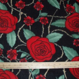Fleece Red Roses and Thorns on black