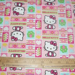 Cotton Fabric Hello Kitty trees and flower patchwork in pastels