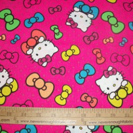 Cotton Fabric Hello Kitty and BOWS on bright pink with polka dots