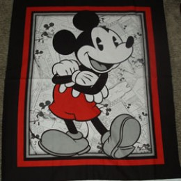 Cotton Blanket Quilt top panel Mickey Mouse