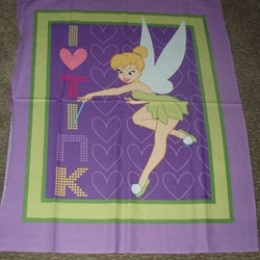 Cotton Blanket Quilt top panel Tinkerbell
