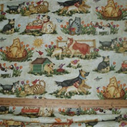 Cotton Fabric Pals at Play  - dogs and cats playing