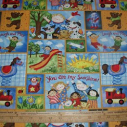 Cotton Fabric You are My Sunshine patchwork multi racial kids