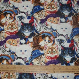 COTTON Fabric Kittens in the Closet Lots of cats