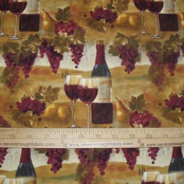 Cotton Fabric FRESCO AFTERNOON wine wine bottles & Grapes