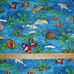 Cotton Fabric Under the Sea Dolphin Sea Turtle Clown Fish on blue