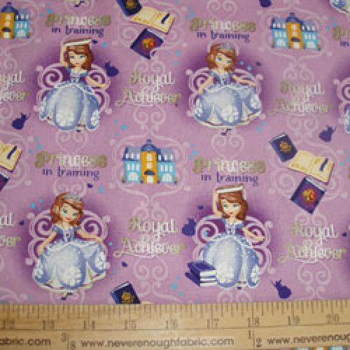 Cotton fabric Sophia the First on lavender