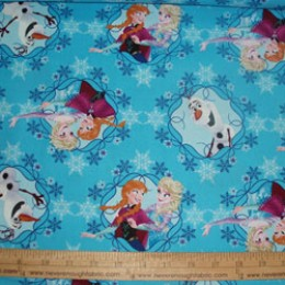Disney's Frozen Olaf Anna and Elsa framed on blue