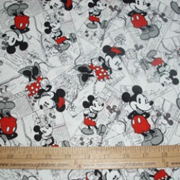 Disney's Minnie Mouse and Mickey Mouse comic strip black white gray red