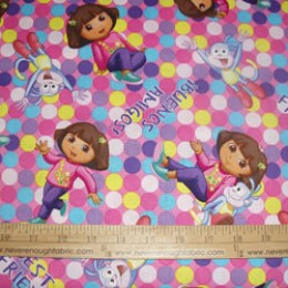 Dora the Explorer and Boots on pink with circles