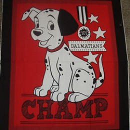 Cotton Quilt Blanket top panel 101 Dalmations CHAMP