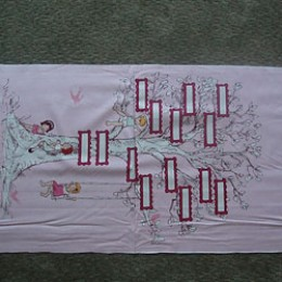 Michael Miller Children at Play Family Tree on pink