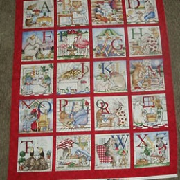 Hungry Animal Alphabet quilt top panel Book