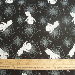 Cotton Fabric Casper the Friendly Ghost with spiders webs on Black