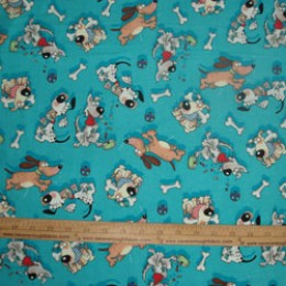 Flannel  Cotton Goofy Dogs on blue