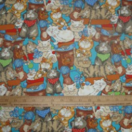 Flannel Cotton Crazy Cats on blue