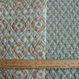 Double - sided Pre-quilted fabric Diane Kappa Designs Light Aqua yellow and gray/small floral