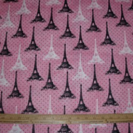 Cotton fabric Paris France Eiffel Tower white and black on pink