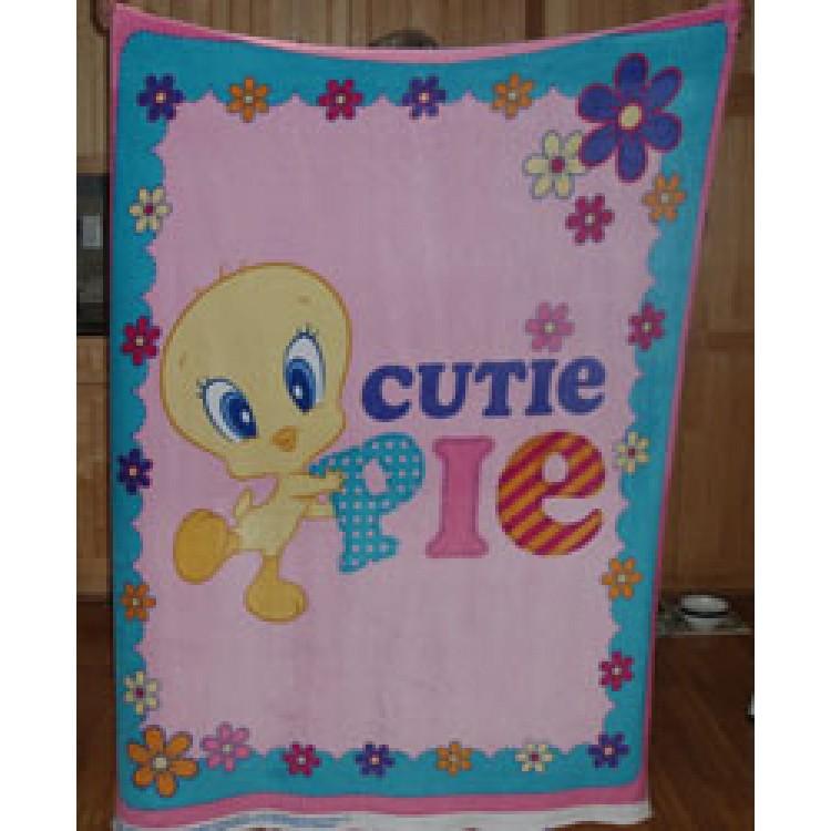 Fleece Blanket Panel Tweety Bird On Pink