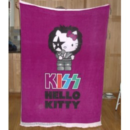 Fleece Blanket Panel Hello Kitty KISS Rock Star on purple
