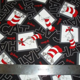 Dr Seuss Cat in the Hat COTTON on black