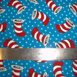 Dr Seuss Cat in the Hat FLANNEL hats on blue with polka dots