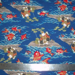 Asian fishing scene on blue with metallic highlights
