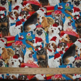 Elizabeth's Studio Holiday Friends Collection Dogs on blue #4204