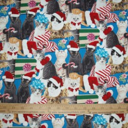Elizabeth's Studio Holiday Friends Collection CATS on blue #4203