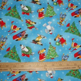Elizabeth's Studio Christmas Joy Collection Comical DOGS on blue #4015