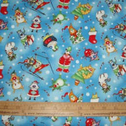 Elizabeth's Studio Christmas Joy Collection Comical CATS on blue #4014