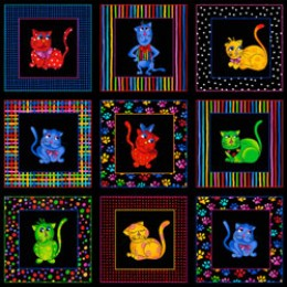 Loralie Designs Cool Cat panel blocks