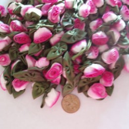 Silk Ribbon Roses variegated white to hot pink fuschia 100 count #19
