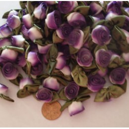 Silk Ribbon Roses variegated white to purple 100 count  #22