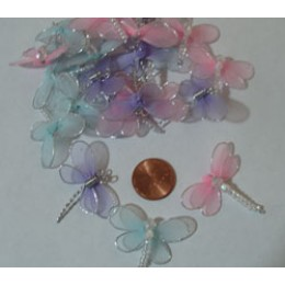 Nylon Bead and Metal DRAGONFLIES appliques 22 count #28
