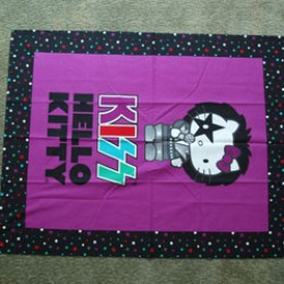 Cotton Fabric Quilt top blanket panel Hello Kitty KISS Singing