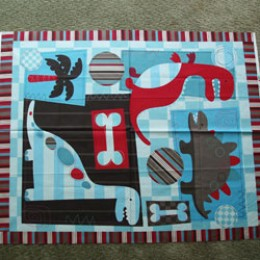 Cotton Fabric Quilt top blanket panel DINOSAURS