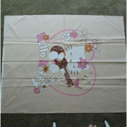 Cotton Fabric Quilt top blanket panel Hello Kitty Playing the guitar on beige